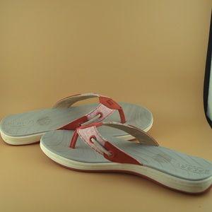 Sperry Top-sider Ladies 6M Coral Red Flip Flops
